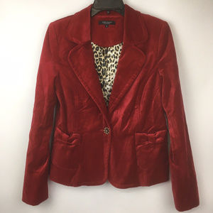 Red Velvety Blazer Jacket Bow Detailed